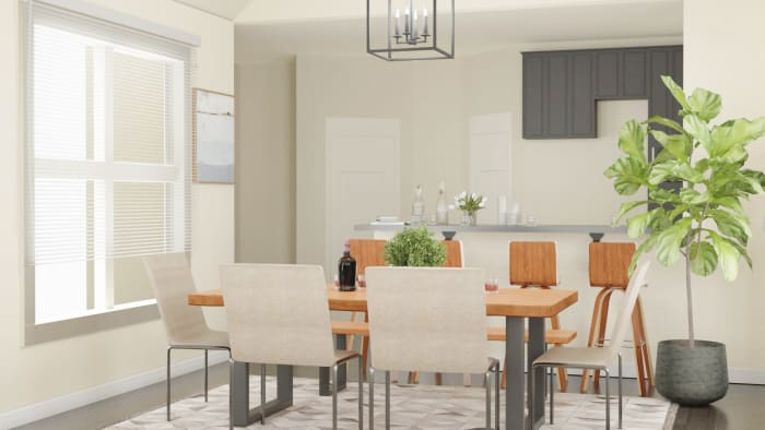 Airy Tones: Urban Farmhouse Dining Room Design View 4 By Spacejoy