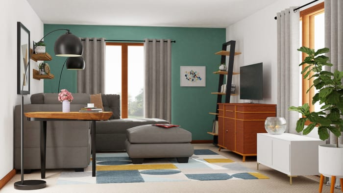 Mid-Century Living Room with Retro Vibes Design View 2 By Spacejoy