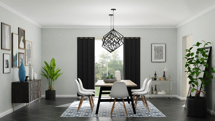 Urban Eclectic Dining Room in Geometric Motif  Design View 3 By Spacejoy