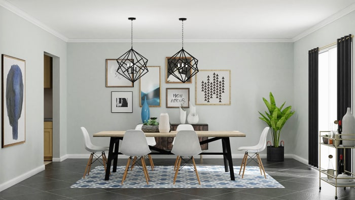 Urban Eclectic Dining Room in Geometric Motif  Design View 2 By Spacejoy