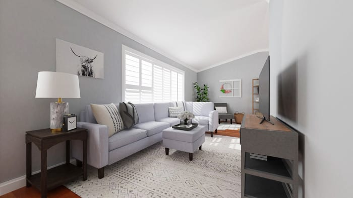 Open Space with Reading Nook: Modern Farmhouse Living Room Design View 5 By Spacejoy