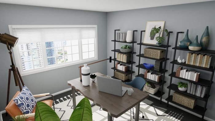 Library Feel Office: Urban Modern Design View 5 By Spacejoy