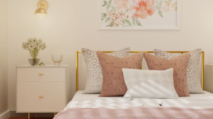 Lighter Fabrics and Textures: Modern Glam Bedroom Design View 2 By Spacejoy