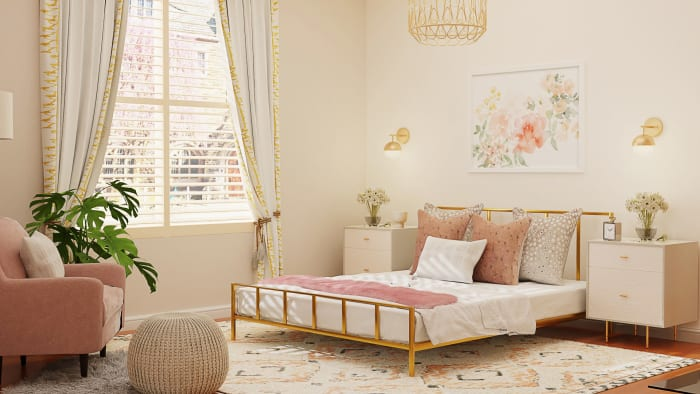 Lighter Fabrics and Textures: Modern Glam Bedroom Design View 3 By Spacejoy
