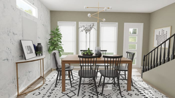 Modern Rustic with Glam Touches: Dining Room Design View 2 By Spacejoy