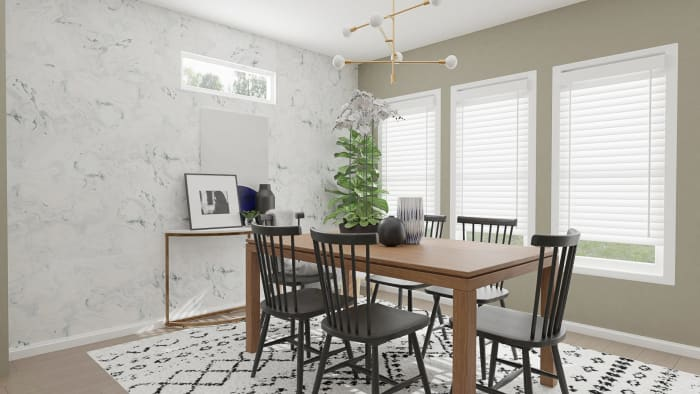 Modern Rustic with Glam Touches: Dining Room Design View 3 By Spacejoy