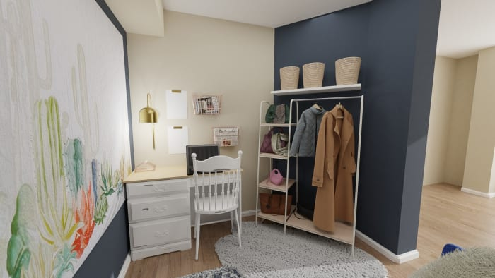 Tapestry As Focal Point: Home Office Design View 2 By Spacejoy