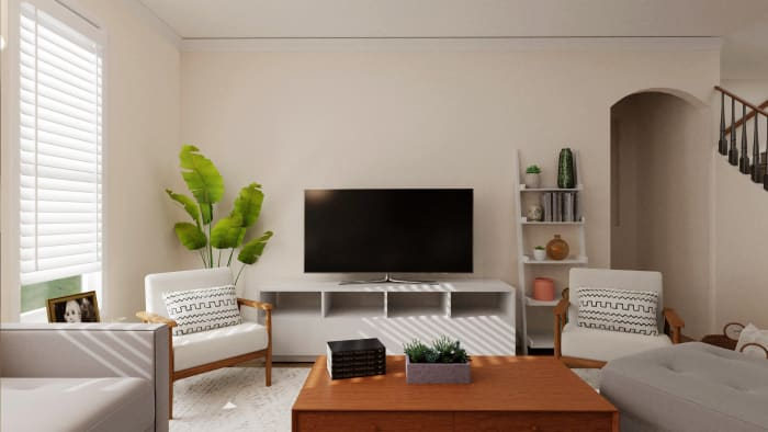 Extra Storage: Mid-Century Contemporary Living Room Design View 2 By Spacejoy