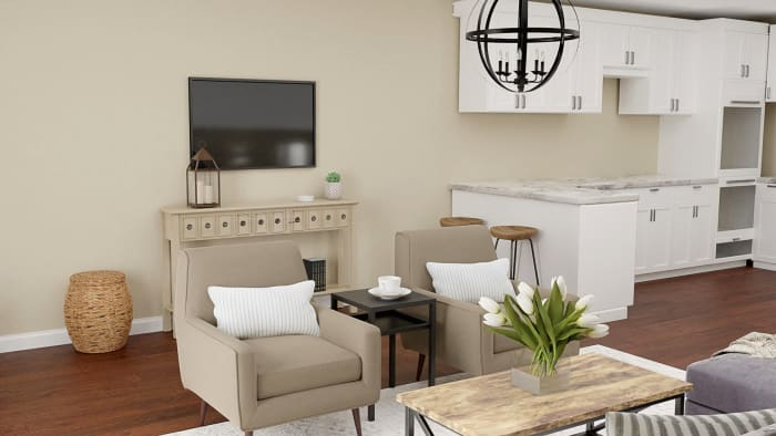 Urban Farmhouse: Living Room Design Design View 4 By Spacejoy