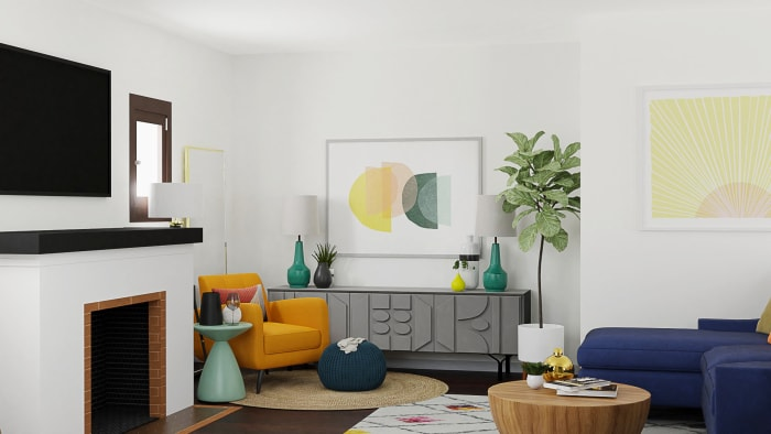 Bright Energizing Color:  Mid-Century Retro Living Room Design View 2 By Spacejoy