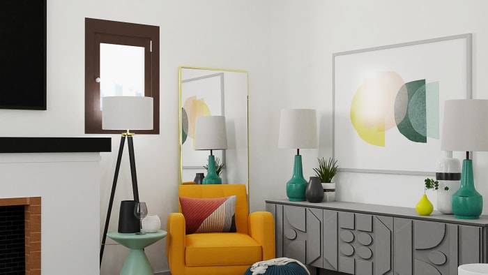 Bright Energizing Color:  Mid-Century Retro Living Room Design View 3 By Spacejoy