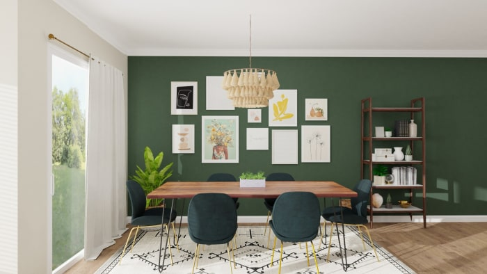Emerald Statement Wall: Eclectic Glam Dining Room Design View 2 By Spacejoy