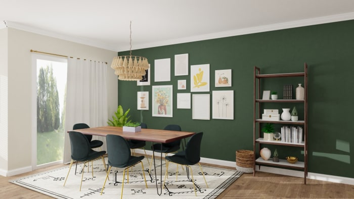 Emerald Statement Wall: Eclectic Glam Dining Room Design View 3 By Spacejoy