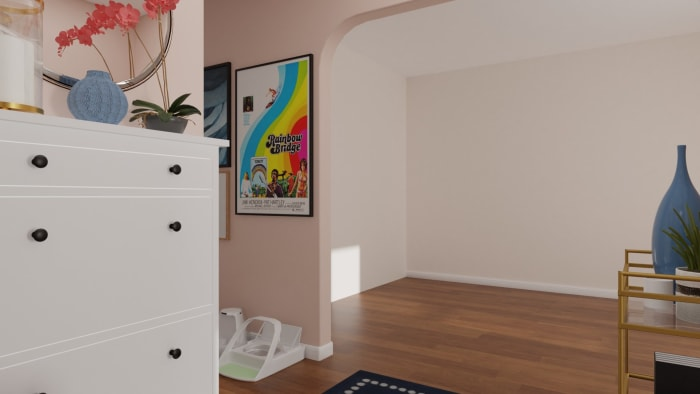 Pink and Feminine: Modern Glam Entryway Design View 4 By Spacejoy