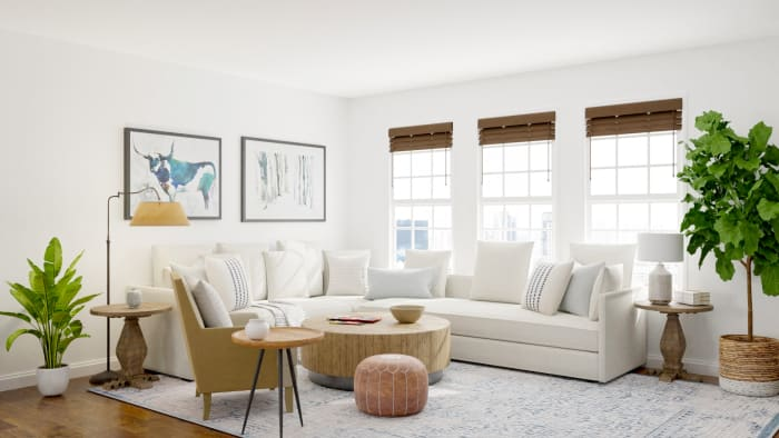 Neutral Palette + Blue Accents: Modern Farmhouse Living Room Design View 2 By Spacejoy
