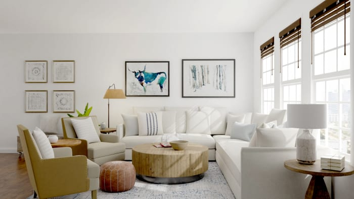 Neutral Palette + Blue Accents: Modern Farmhouse Living Room Design View 4 By Spacejoy