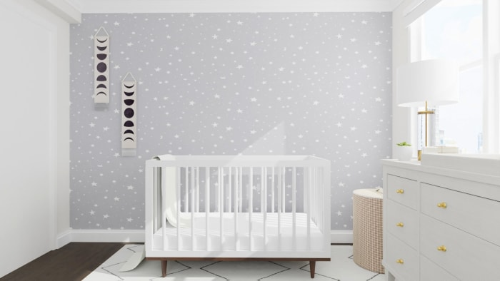 Bright and Starry: Mid-Century Minimalist Nursery Design View 3 By Spacejoy