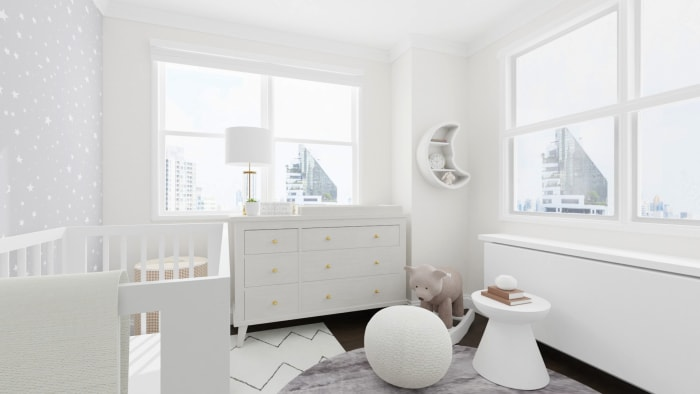 Bright and Starry: Mid-Century Minimalist Nursery Design View 4 By Spacejoy