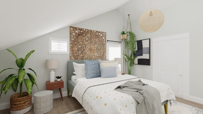 Soft and Earthy: Boho Minimalist Bedroom Design View 2 By Spacejoy