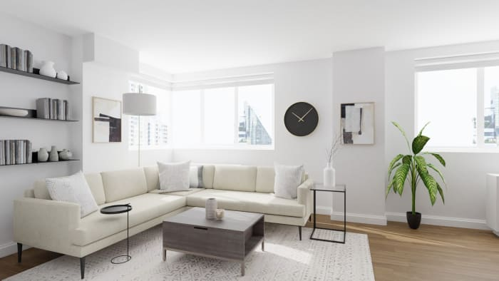 Classy Neutral Tones: Urban Minimalist Living Room Design View 2 By Spacejoy