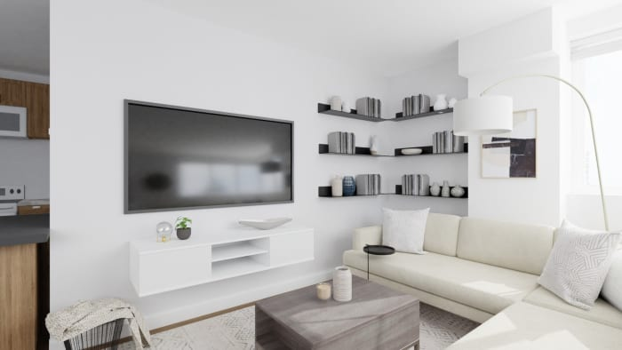 Classy Neutral Tones: Urban Minimalist Living Room Design View 3 By Spacejoy