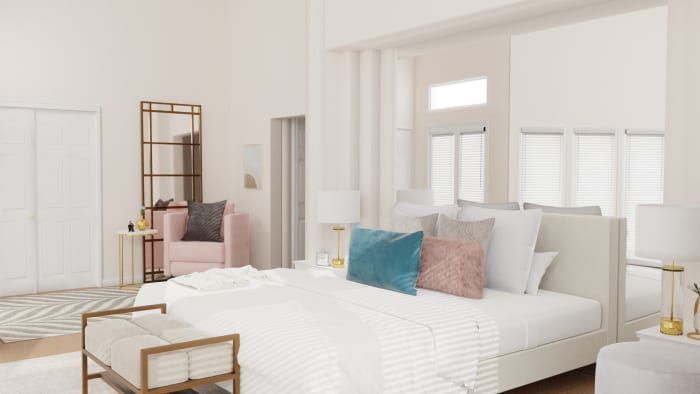 Pastel Accents: Elegant Glam Bedroom Design View 5 By Spacejoy