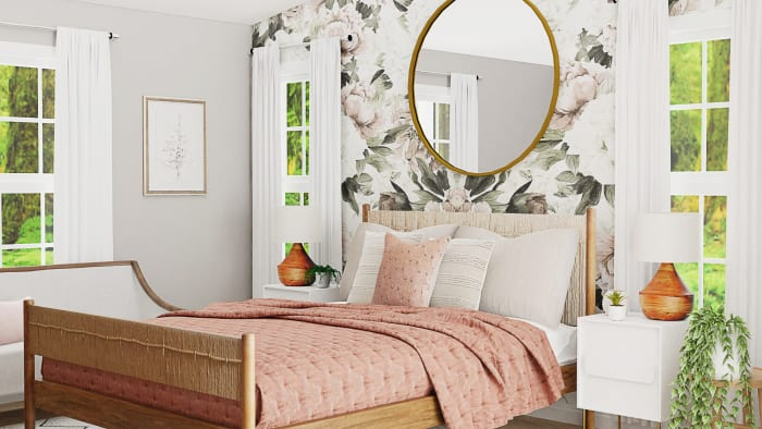 Statement Floral Wallpaper: Mid-Century Glam Bedroom Design View 2 By Spacejoy