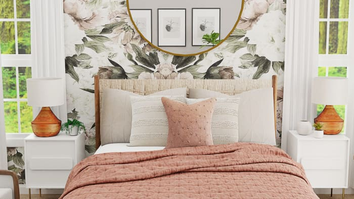 Statement Floral Wallpaper: Mid-Century Glam Bedroom Design View 3 By Spacejoy