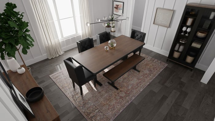 Charcoal Ceiling:  Urban Transitional Dining Room Design View 2 By Spacejoy