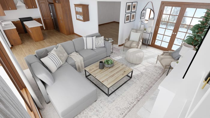Conversational Layout: Modern Traditional Living Room Design View 4 By Spacejoy