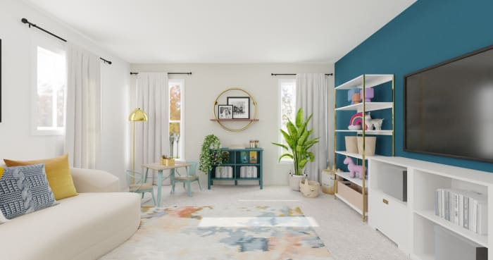 Accent Wall Kids Playroom: Modern Glam Kids Room Design View 2 By Spacejoy