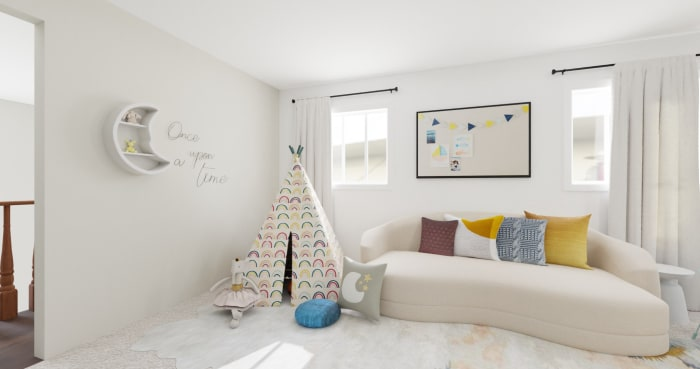 Accent Wall Kids Playroom: Modern Glam Kids Room Design View 3 By Spacejoy