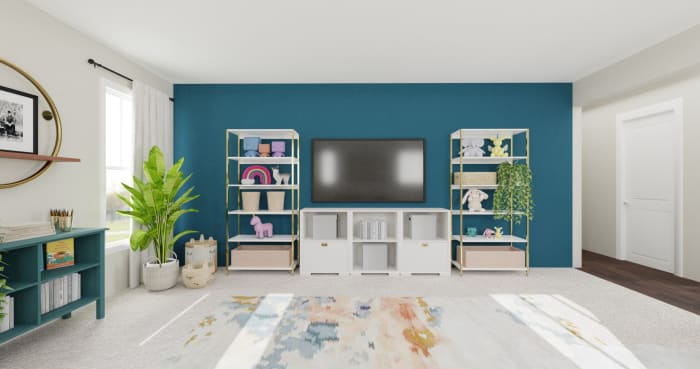 Accent Wall Kids Playroom: Modern Glam Kids Room Design View 4 By Spacejoy
