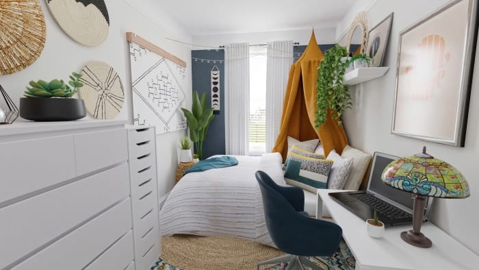 Small Space Ideas: Modern Eclectic Bedroom Design View 2 By Spacejoy