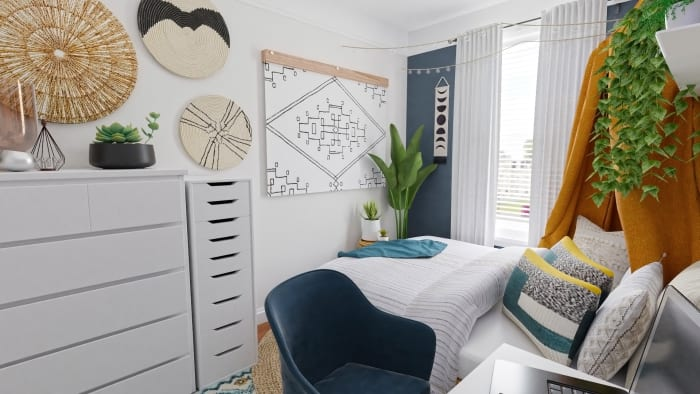 Small Space Ideas: Modern Eclectic Bedroom Design View 3 By Spacejoy