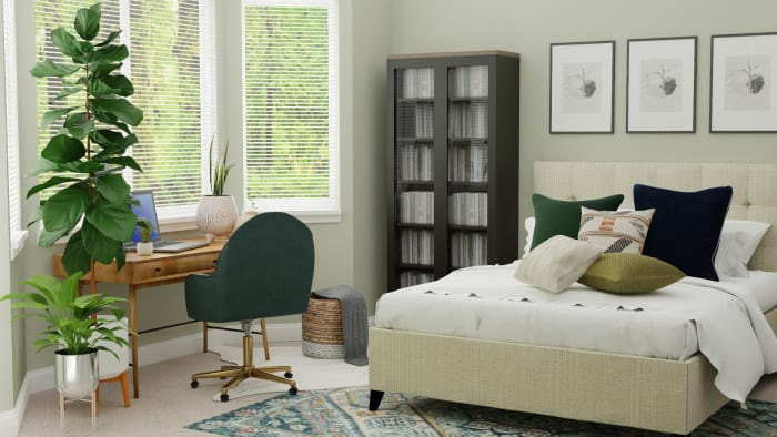 Emerald Accents Tween Room:  Transitional Glam Bedroom Design View 2 By Spacejoy
