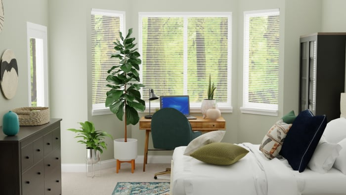 Emerald Accents Tween Room:  Transitional Glam Bedroom Design View 3 By Spacejoy