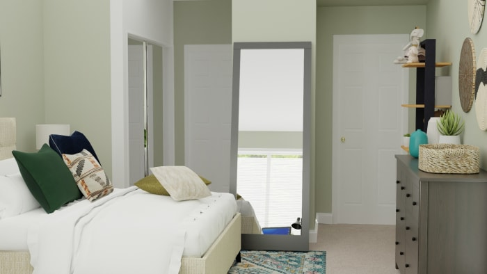 Emerald Accents Tween Room:  Transitional Glam Bedroom Design View 4 By Spacejoy