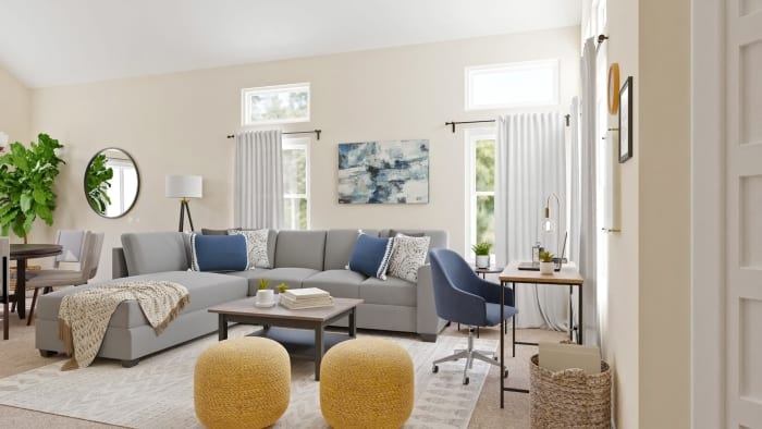 Multi Functional Space: Transitional Coastal Living Room Design View 4 By Spacejoy