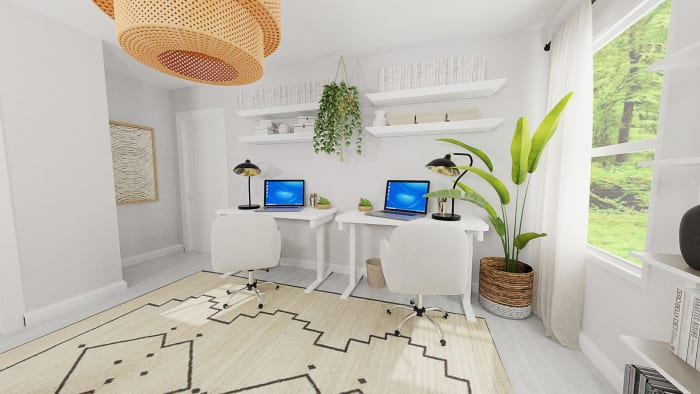 Dual Work Stations: Boho Eclectic Home Office Design View 3 By Spacejoy