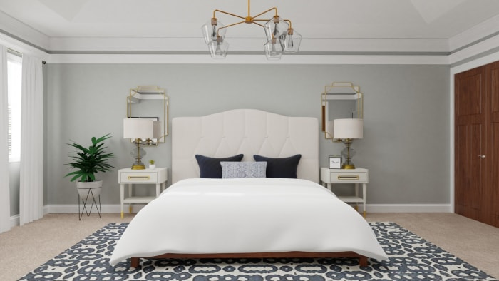 Statement Headboard: Glam Transitional Bedroom Design View 2 By Spacejoy