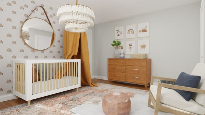 Accent Wallpaper: Mid-Century Eclectic Nursery Design View 2 By Spacejoy