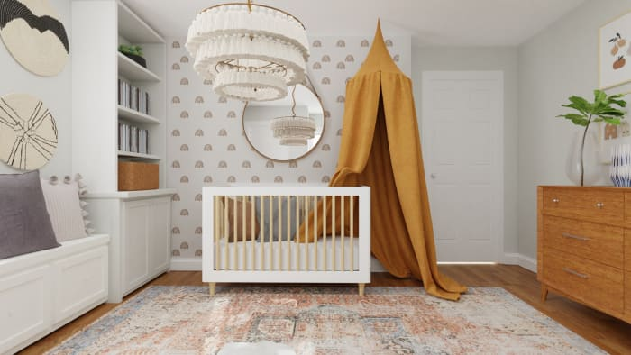 Accent Wallpaper: Mid-Century Eclectic Nursery Design View 3 By Spacejoy