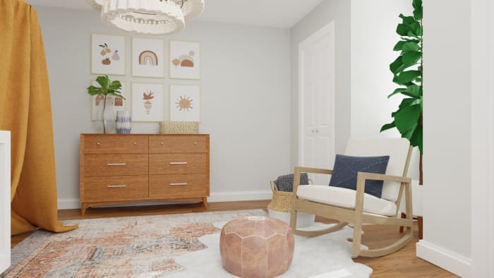 Accent Wallpaper: Mid-Century Eclectic Nursery Design View 4 By Spacejoy