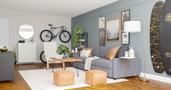 Surfing Vibes: Urban Minimalist Living Room Design View 2 By Spacejoy