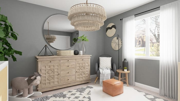 Calming Gray Tones:  Rustic Boho Nursery Design View 2 By Spacejoy