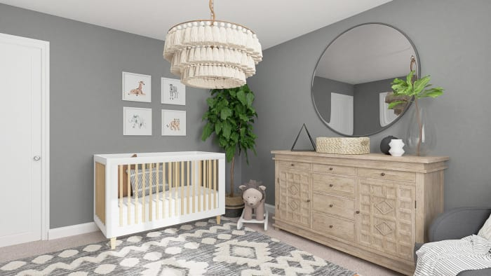 Calming Gray Tones:  Rustic Boho Nursery Design View 3 By Spacejoy