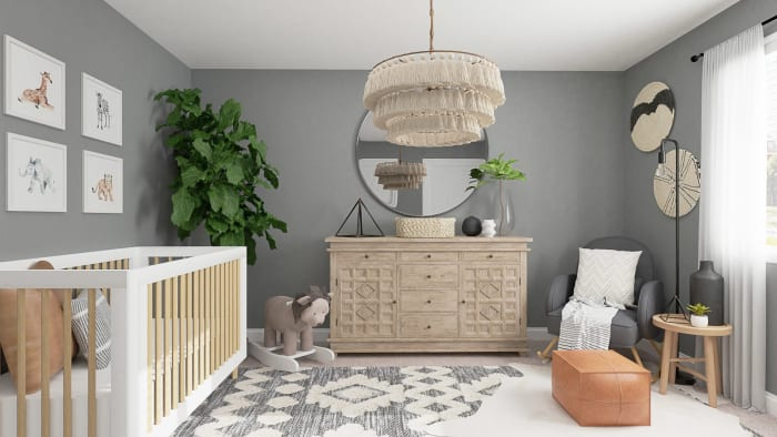 Calming Gray Tones:  Rustic Boho Nursery Design View 4 By Spacejoy