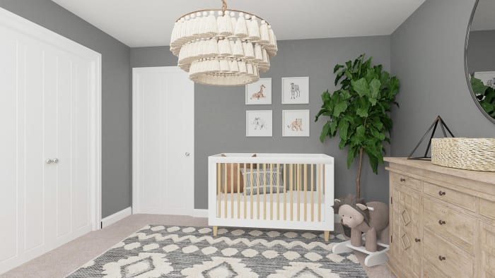Calming Gray Tones:  Rustic Boho Nursery Design View 5 By Spacejoy