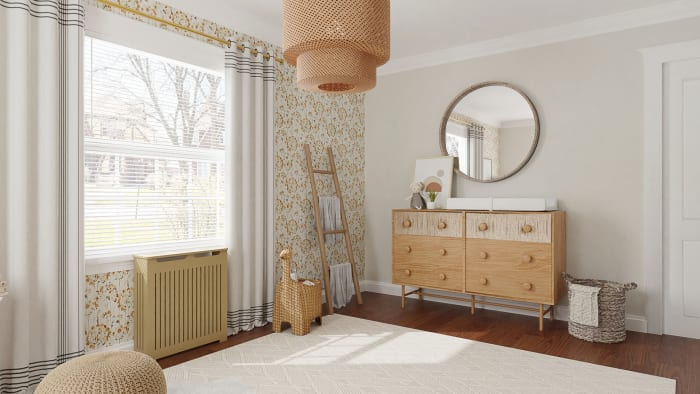 Floral Wallpaper:  Scandinavian Nursery Design View 2 By Spacejoy
